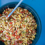 Food & Wine: Warm Grilled Corn with Pancetta and Red Pepper