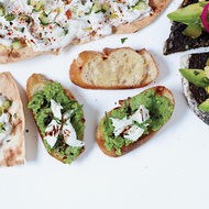 Food & Wine: Bruschetta with Mozzarella and Smashed Fresh Favas