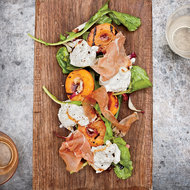 Food & Wine: Grilled Apricots with Burrata, Country Ham and Arugula