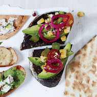 Food & Wine: Pumpernickel with Avocado, Charred Corn and Tomato
