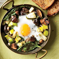 Food & Wine: Eggs Baked Over Sautéed Mushrooms and Spinach