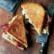 Food & Wine: Grilled Cheese-and-Bacon Sandwiches with Cheese Curds