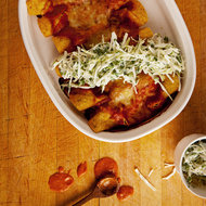 Food & Wine: Chicken, Cheese and Mushroom Enchiladas with Sour Cream Slaw
