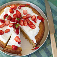 Food & Wine: Cornmeal-Almond Cake with Strawberries and Mascarpone