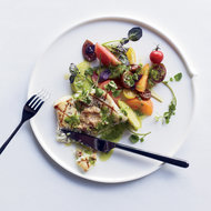 Food & Wine: Grilled Halibut with Herb Pistou and Walnut Butter