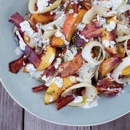 Food & Wine: Grilled Peach, Onion and Bacon Salad with Buttermilk Dressing