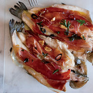Food & Wine: Pan-Seared Trout with Serrano Ham and Chile-Garlic Oil