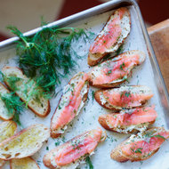 Food & Wine: Smoked Salmon Toasts with Mustard Butter