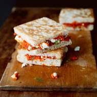 Food & Wine: Melty Feta and Roasted Red Pepper Sandwiches