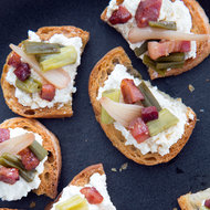 Food & Wine: Ricotta Crostini with Pickled Ramps and Crisp Pancetta