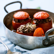 Food & Wine: Baked Tomatoes Stuffed with Lamb and Fresh Herbs