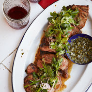 Food & Wine: Coffee-Rubbed Strip Steaks with Chimichurri Sauce
