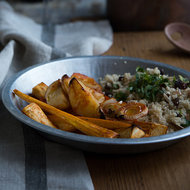Food & Wine: Harissa-Roasted Carrots, Fennel and New Potatoes with Couscous