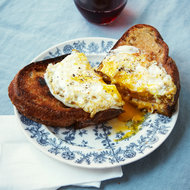 Food & Wine: Grilled Ham-and-Pimento-Cheese Sandwiches with Fonduta and Fried Eggs