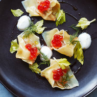 Food & Wine: Lamb Wontons with Salmon Roe and Dill