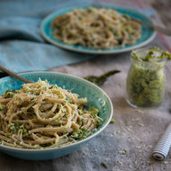 Food & Wine: Roasted Asparagus Pesto with Whole-Wheat Linguine
