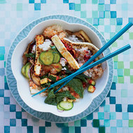 Food & Wine: Crispy Tofu Bibimbap with Mustard Greens & Zucchini
