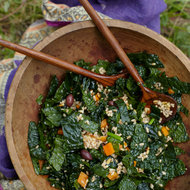 Food & Wine: Farro-and-Kale Salad with Olives and Pine Nuts
