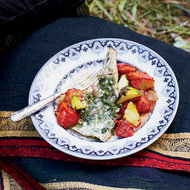 Food & Wine: Striped Bass Poached in Herb Butter
