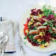 Food & Wine: Bratwurst with Mustardy Fried Potatoes and Braised Cabbage