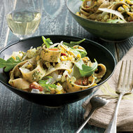 Food & Wine: Whole-Wheat Pappardelle with Arugula Pesto and Corn