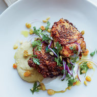 Food & Wine: Spiced Chicken Thighs with Fava Puree and Yogurt