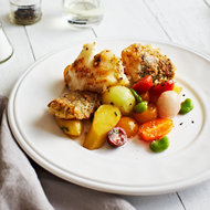 Food & Wine: Black Sea Bass with Baby Vegetables and Mushroom Brown-Butter Vinaigrette