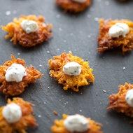 Food & Wine: Butternut Squash Latkes with Chive Sour Cream
