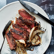 Food & Wine: Grilled Strip Steaks with Onion Wedges