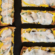 Food & Wine: Mussel Toasts with Pickled-Carrot-and-Coriander Butter