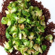 Food & Wine: Anchovy Butter Brussels Sprouts with Toasted Quinoa