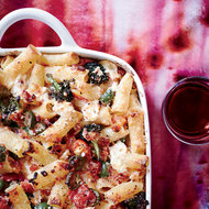 Food & Wine: Baked Rigatoni with Broccoli, Green Olives and Pancetta