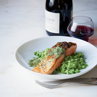 Food & Wine: Salmon with Mashed Peas and Tarragon Butter