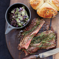 Food & Wine: Griddled Gaucho Steak with Bread-and-Basil Salad