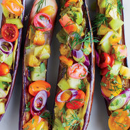 Food & Wine: Miso-Roasted Eggplants with Tomatoes, Dill, Shiso and Black Vinegar