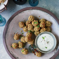 Food & Wine: Nut-and-Seed-Crusted Sausage Meatballs with Mustard Sauce