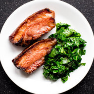 Food & Wine: Bourbon- and Cider-Braised Jowl Bacon Steaks