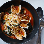 Food & Wine: Spaghetti with Clams and Braised Greens