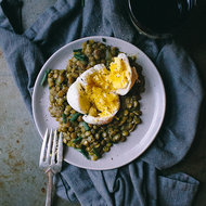 Food & Wine: Spiced Coconut Lentils with Peppered Eggs