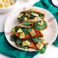 Food & Wine: Spinach-and-Avocado-Stuffed Cornmeal Crêpes with Curry-Lime Cream