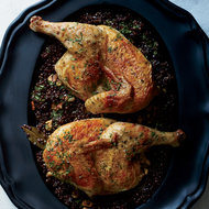 Food & Wine: Cast-Iron Roast Chicken with Lentils and Walnut Vinaigrette