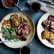 Food & Wine: Grilled Butterflied Leg of Lamb with Ancho-Huckleberry Sauce