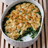 Food & Wine: Baby Spinach and Garlic Bread Pudding