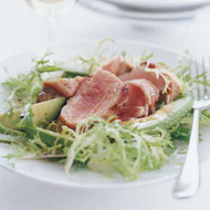 Food & Wine: Bacon-Wrapped Tuna Steaks with Frisée and Avocado Salad