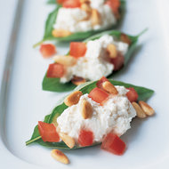 Food & Wine: Basil Leaves Stuffed with Chèvre and Pine Nuts