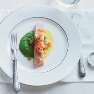 Food & Wine: Barely Cooked Salmon with Pea-Wasabi Puree & Yuzu Butter Sauce