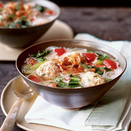 Food & Wine: Bok Choy and Rice Noodle Soup with Turkey Meatballs