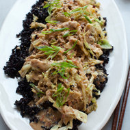 Food & Wine: Black Rice with Stir-Fried Cabbage and Peanut Sauce