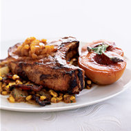 Food & Wine: Grilled Pork Chops with Corn Salad and Lavender Peach Sauce