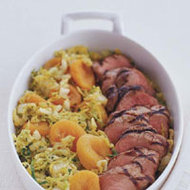 Food & Wine: Grilled Pork with Curried Apricots and Napa Cabbage